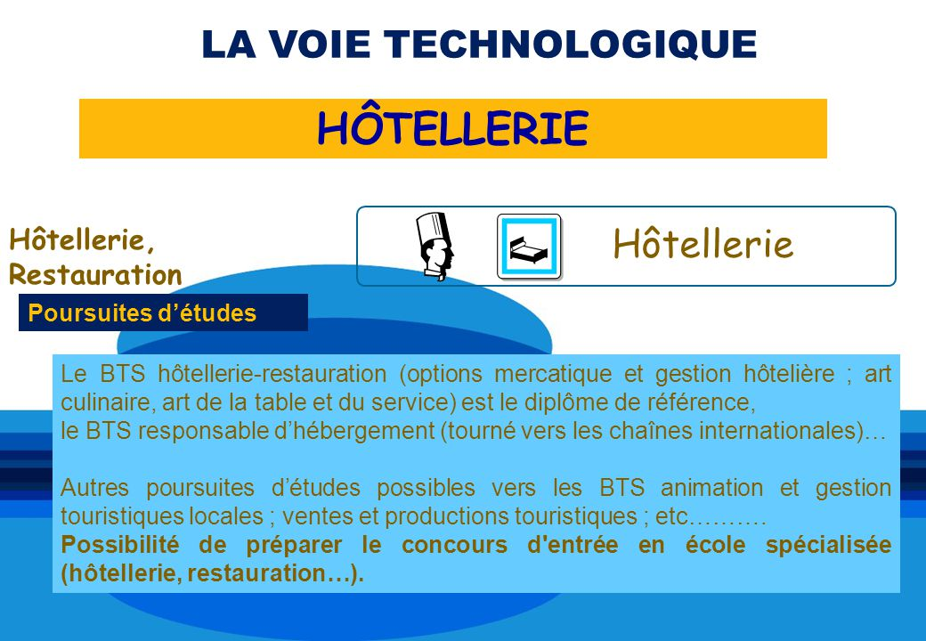 HÔTELLERIE LA VOIE TECHNOLOGIQUE Hôtellerie Hôtellerie, Restauration