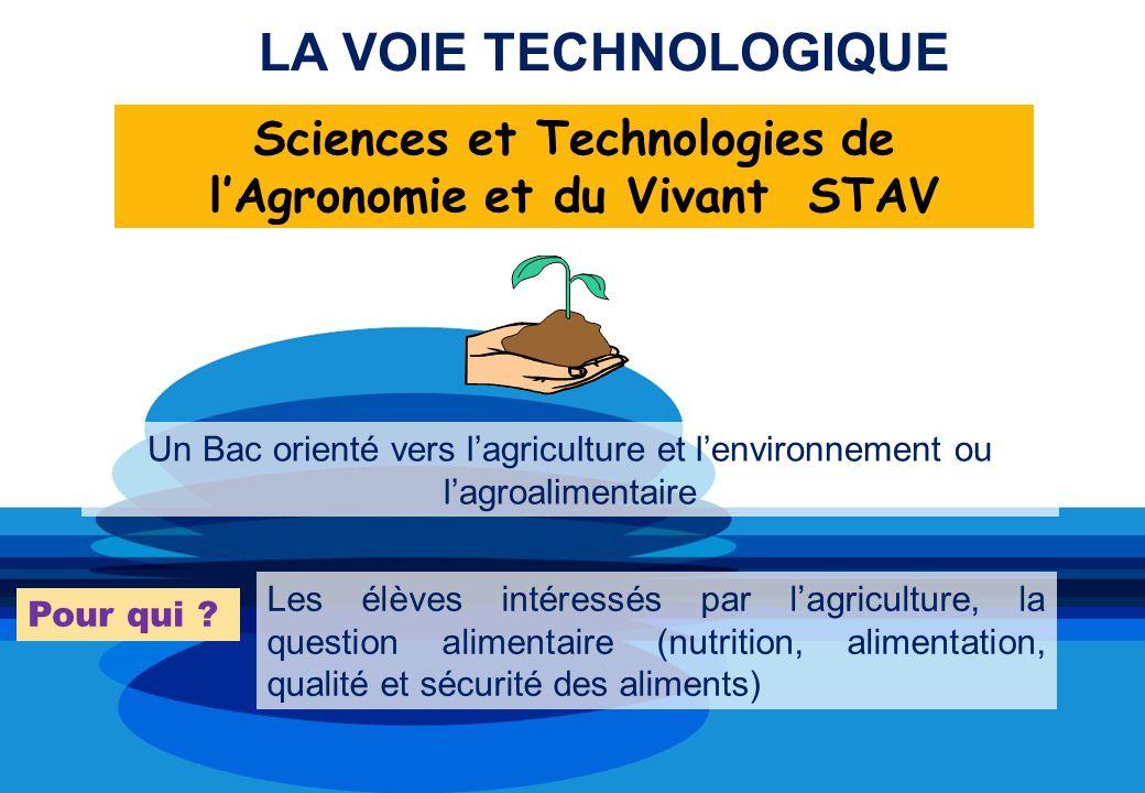 Sciences et Technologies de l'Agronomie et du Vivant STAV