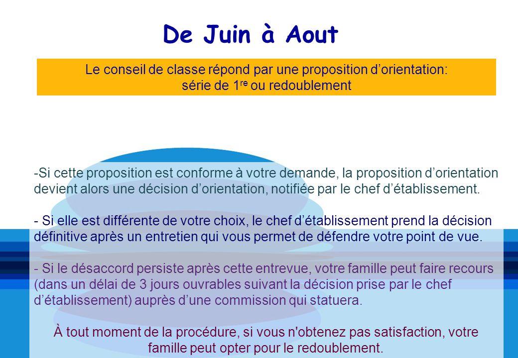 De Juin à Aout Le conseil de classe répond par une proposition d'orientation: série de 1re ou redoublement.