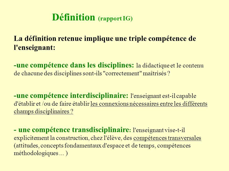 Définition (rapport IG)