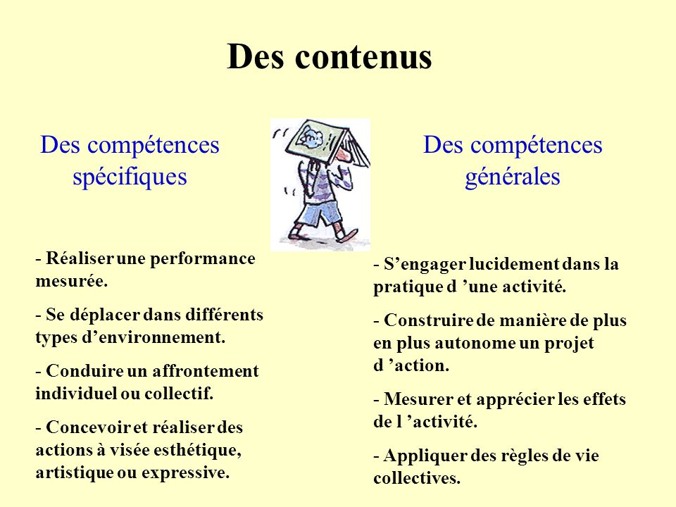 Des contenus Des compétences spécifiques Des compétences générales