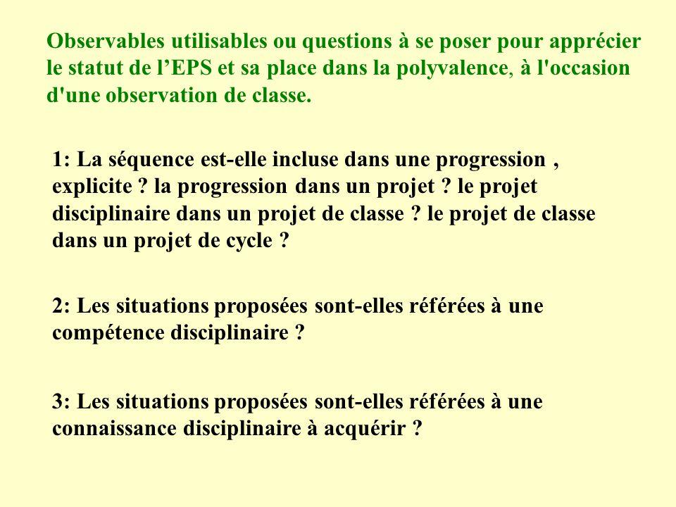 Observables utilisables ou questions à se poser pour apprécier le statut de l'EPS et sa place dans la polyvalence, à l occasion d une observation de classe.