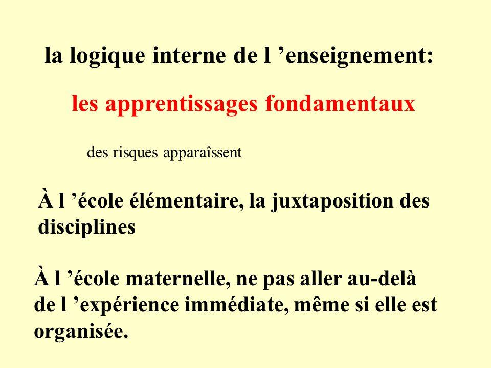 la logique interne de l 'enseignement: les apprentissages fondamentaux
