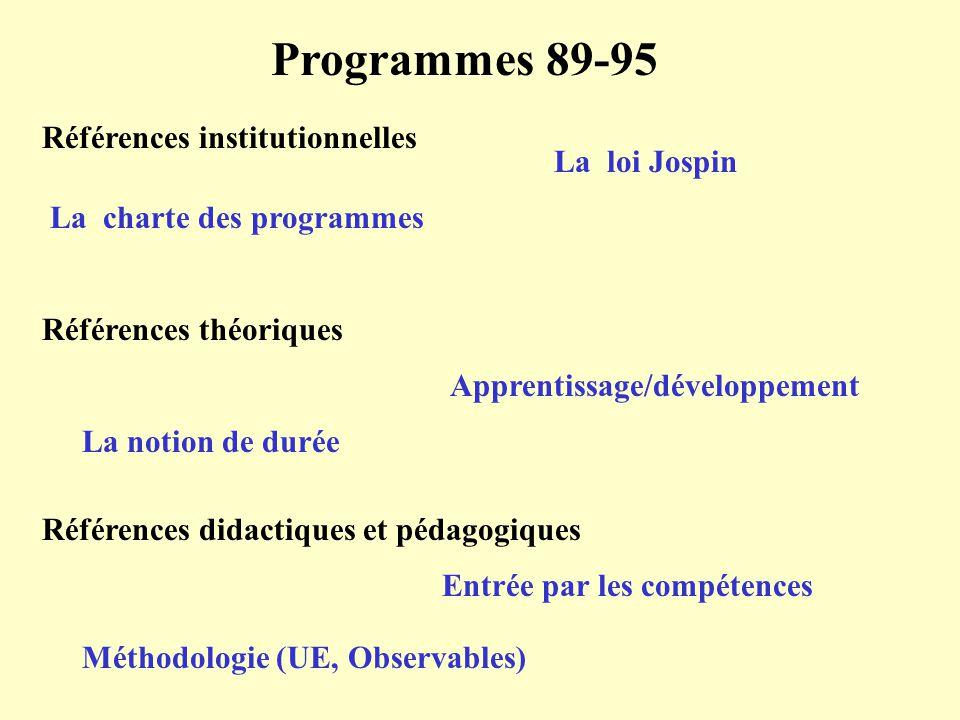Programmes 89-95 Références institutionnelles La loi Jospin