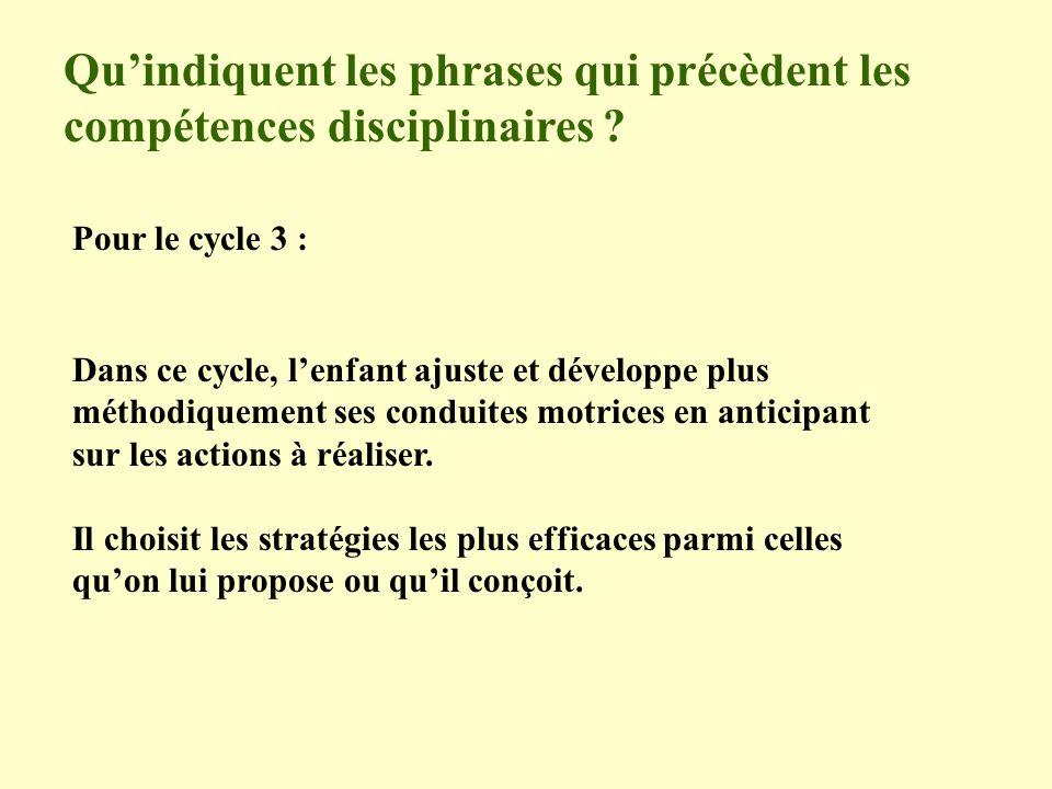 Qu'indiquent les phrases qui précèdent les compétences disciplinaires