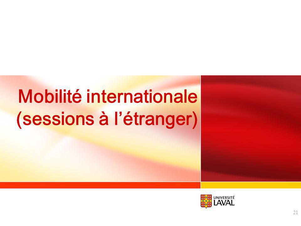 Mobilité internationale (sessions à l'étranger)