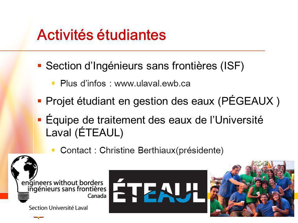 Activités étudiantes Section d'Ingénieurs sans frontières (ISF)