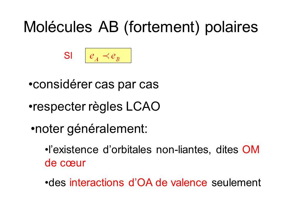 Molécules AB (fortement) polaires