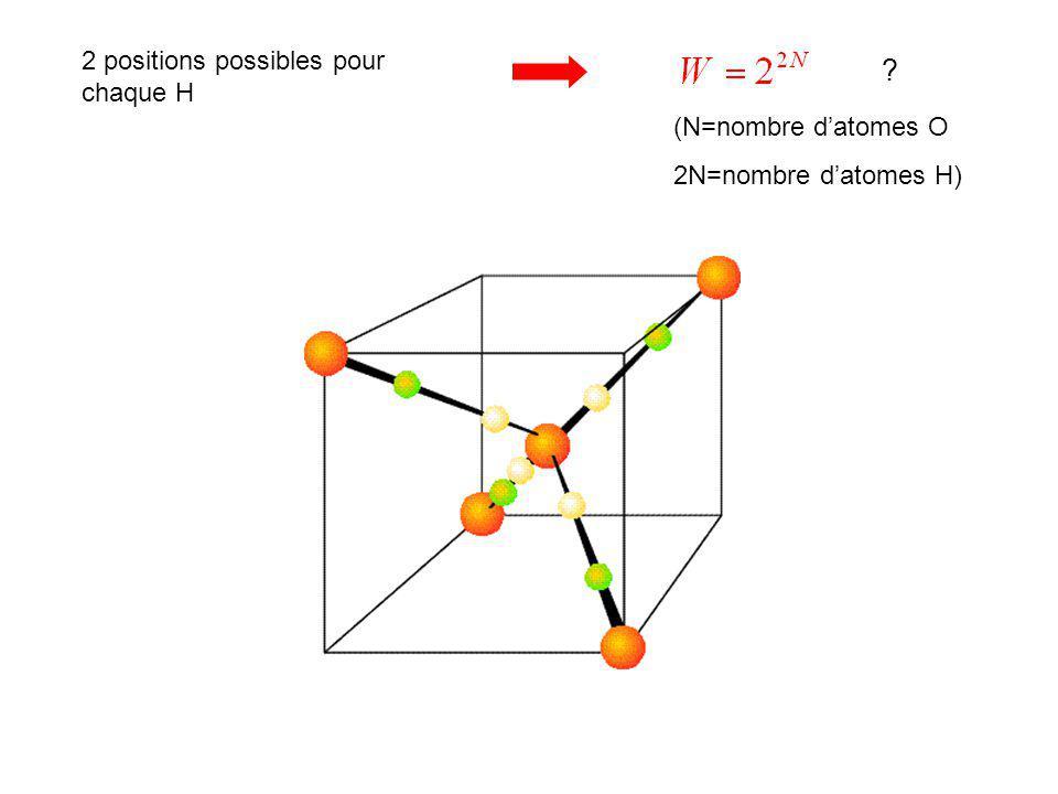 2 positions possibles pour chaque H (N=nombre d'atomes O