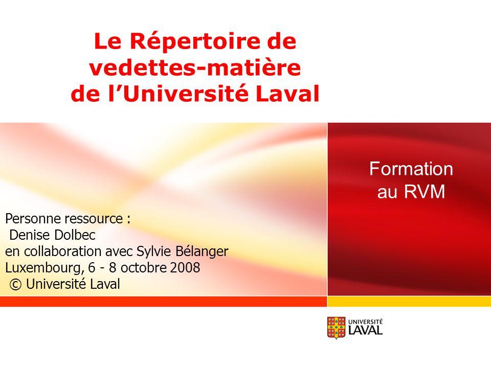 Le Répertoire de vedettes-matière de l'Université Laval