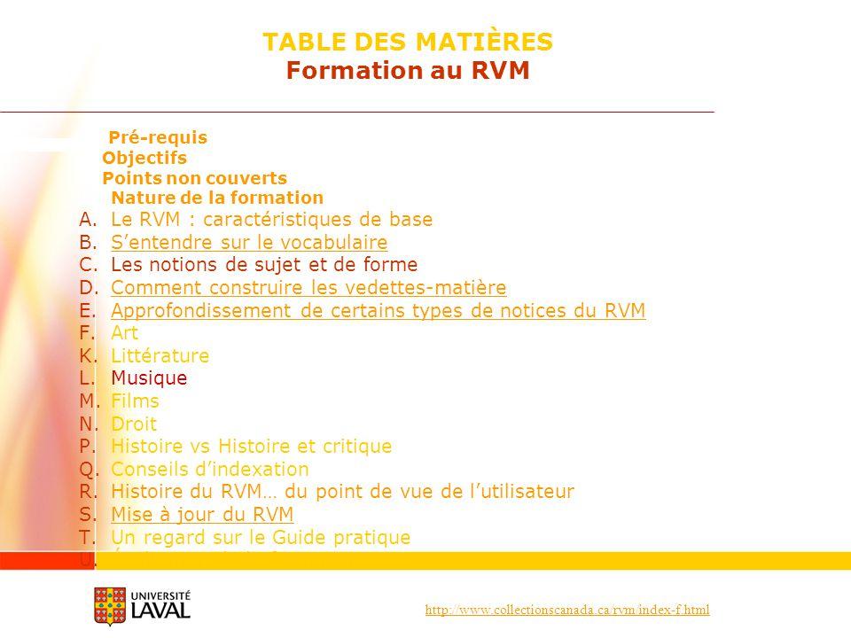 TABLE DES MATIÈRES Formation au RVM
