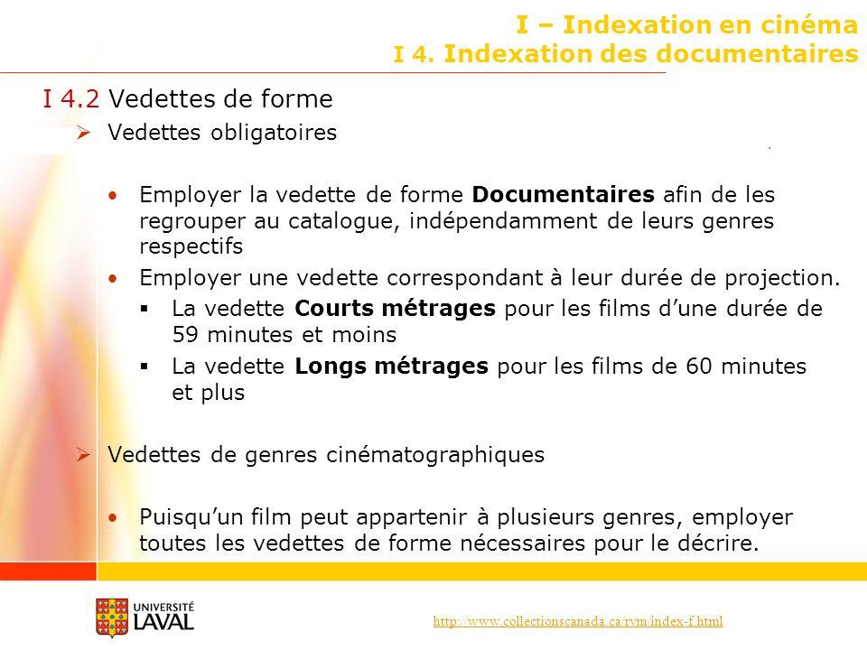 I – Indexation en cinéma I 4. Indexation des documentaires