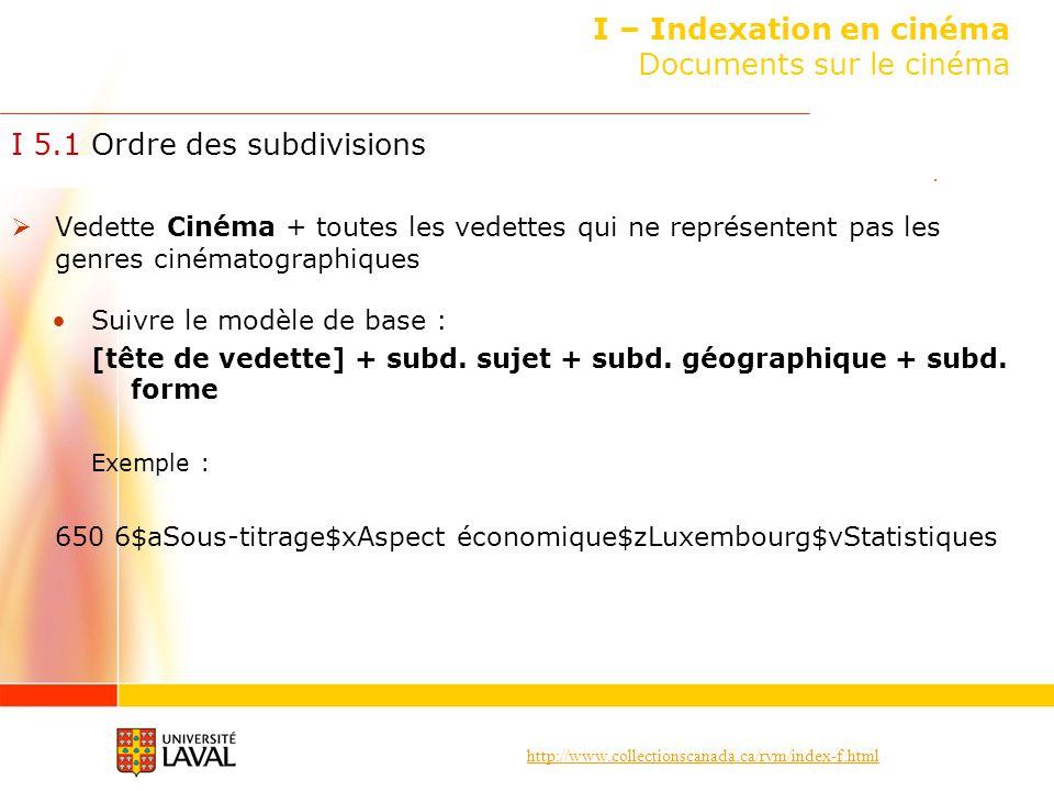 I – Indexation en cinéma Documents sur le cinéma