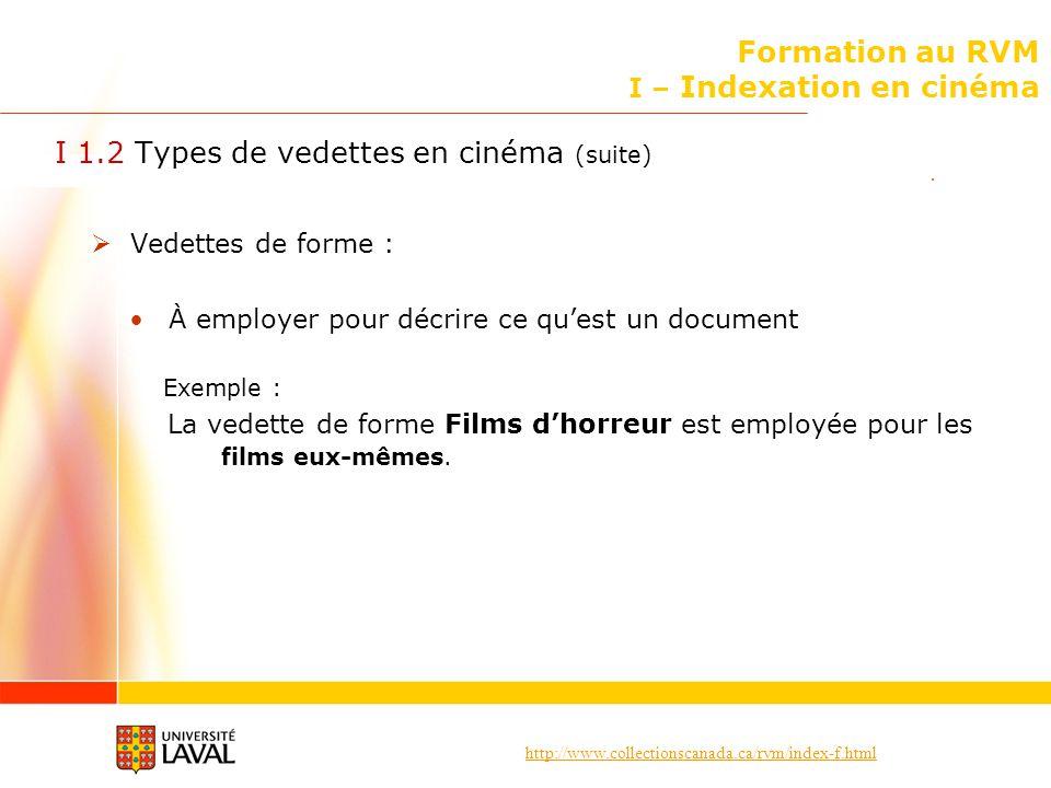 Formation au RVM I – Indexation en cinéma