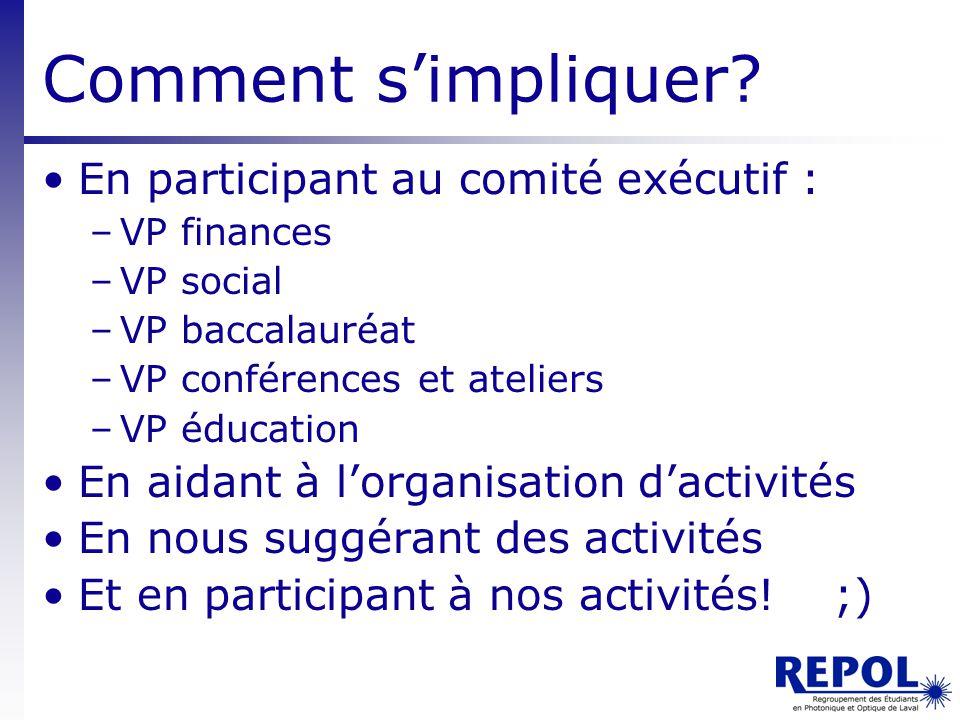 Comment s'impliquer En participant au comité exécutif :