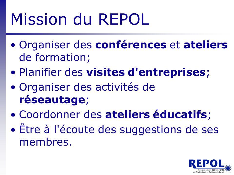 Mission du REPOL Organiser des conférences et ateliers de formation;
