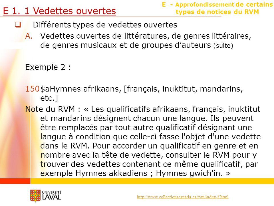 E - Approfondissement de certains types de notices du RVM