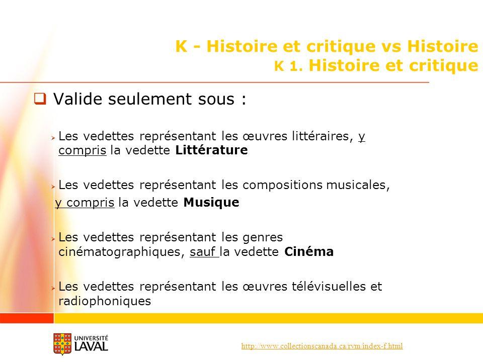 K - Histoire et critique vs Histoire K 1. Histoire et critique