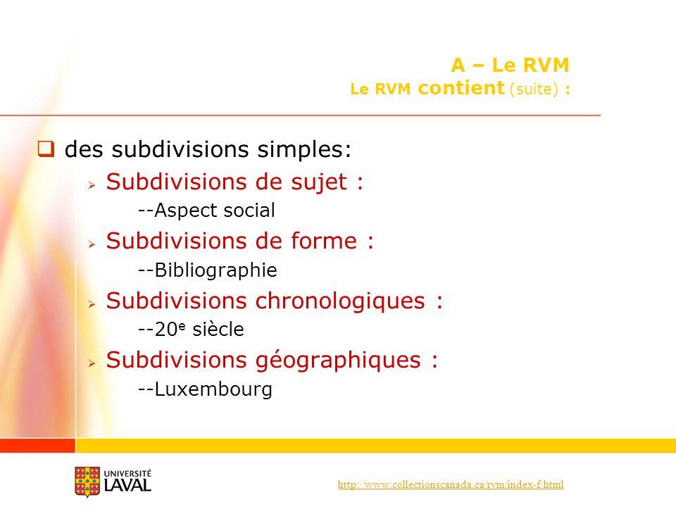 A – Le RVM Le RVM contient (suite) :