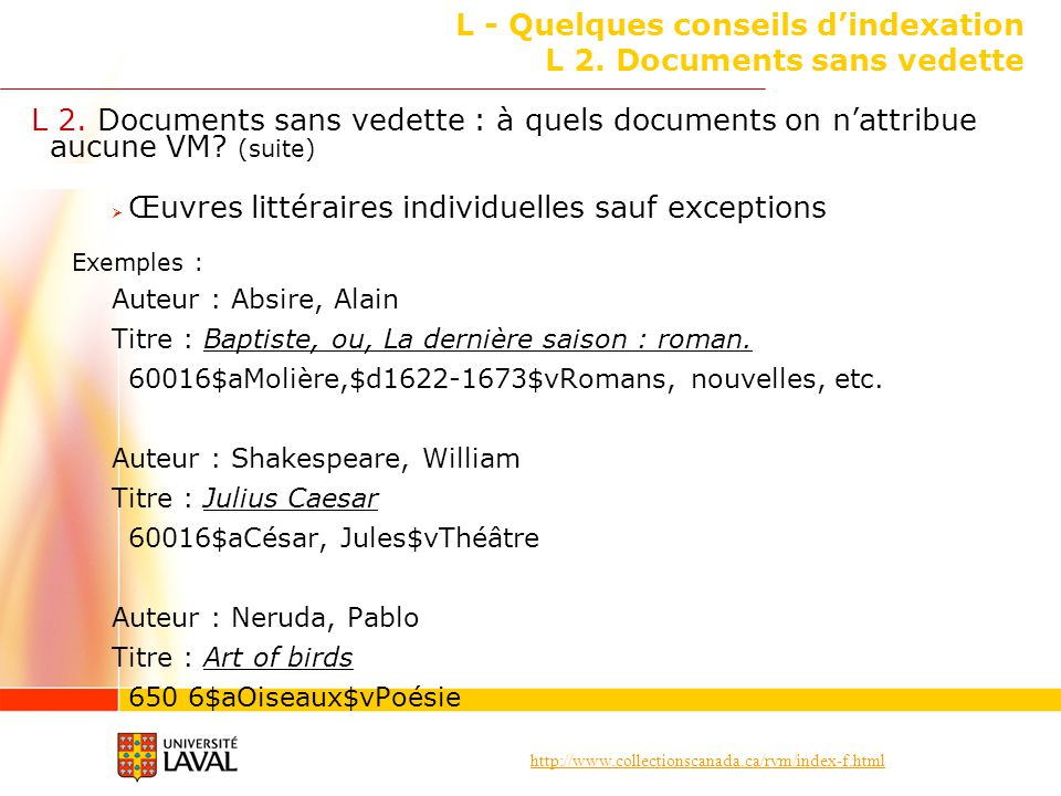 L - Quelques conseils d'indexation L 2. Documents sans vedette
