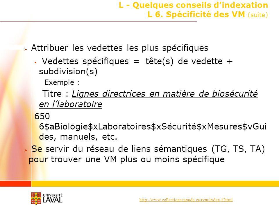 L - Quelques conseils d'indexation L 6. Spécificité des VM (suite)