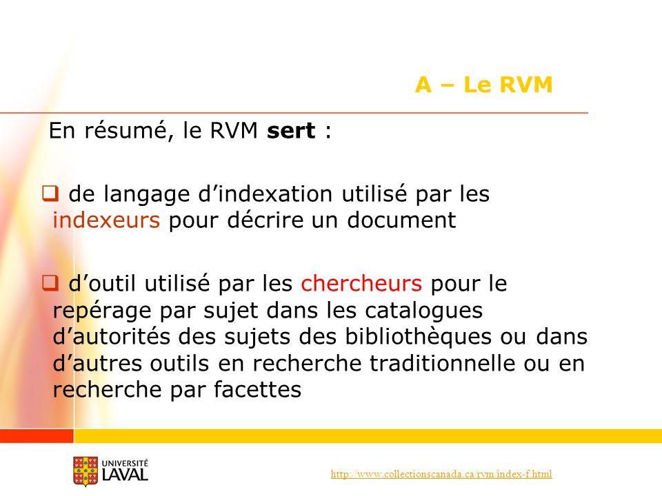 A – Le RVM En résumé, le RVM sert :
