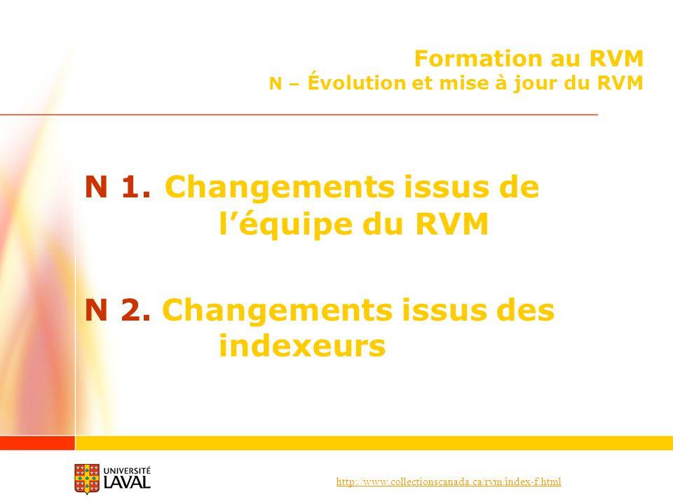 Formation au RVM N – Évolution et mise à jour du RVM