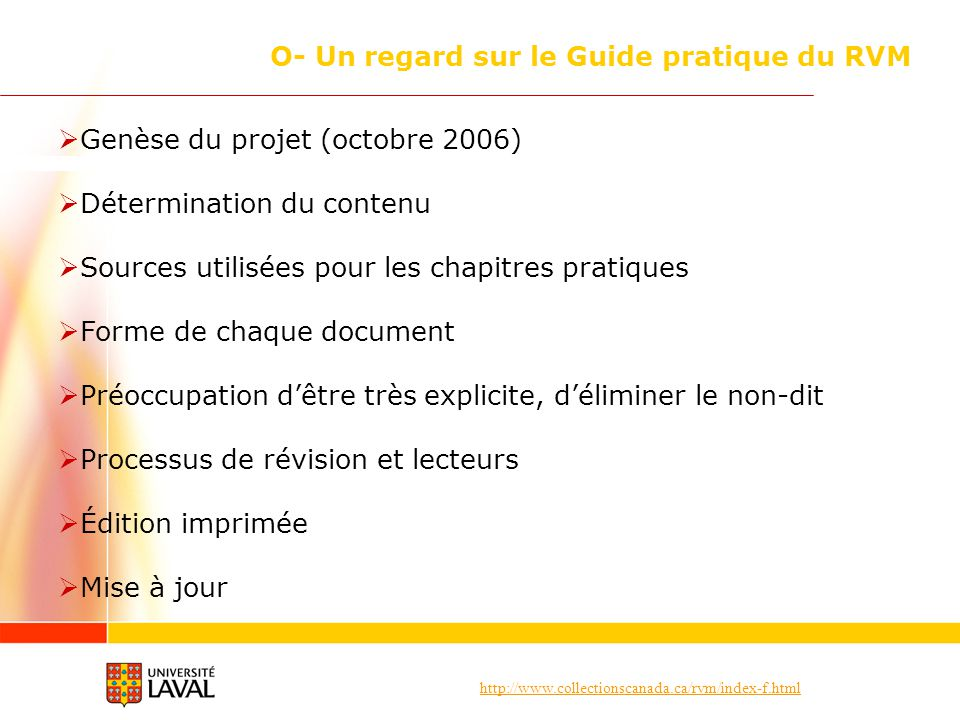 O- Un regard sur le Guide pratique du RVM