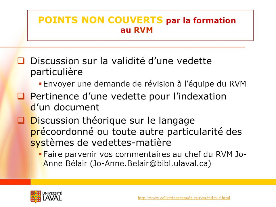 POINTS NON COUVERTS par la formation au RVM