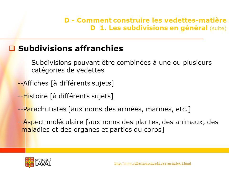 Subdivisions affranchies