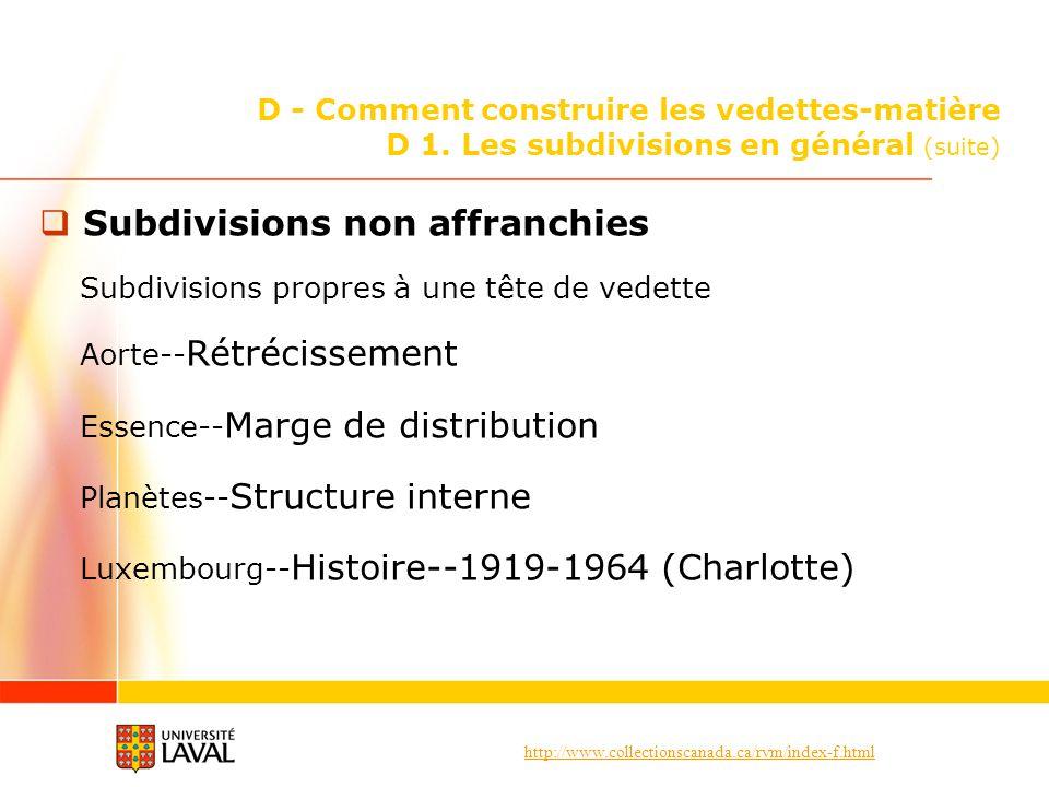 Subdivisions non affranchies