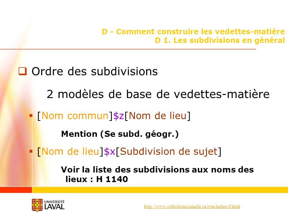 Ordre des subdivisions 2 modèles de base de vedettes-matière