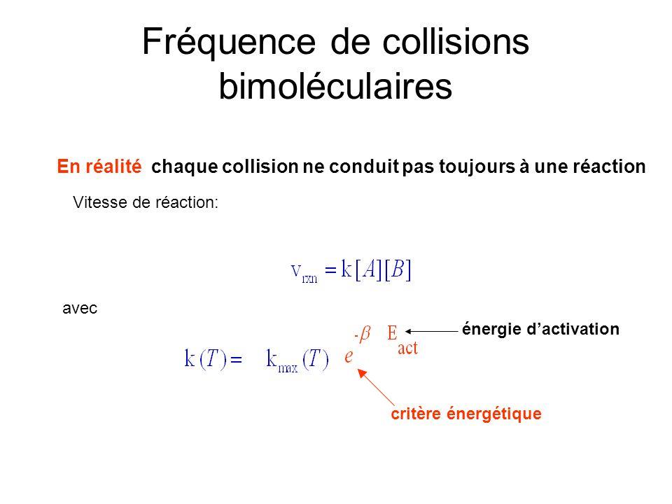 Fréquence de collisions bimoléculaires