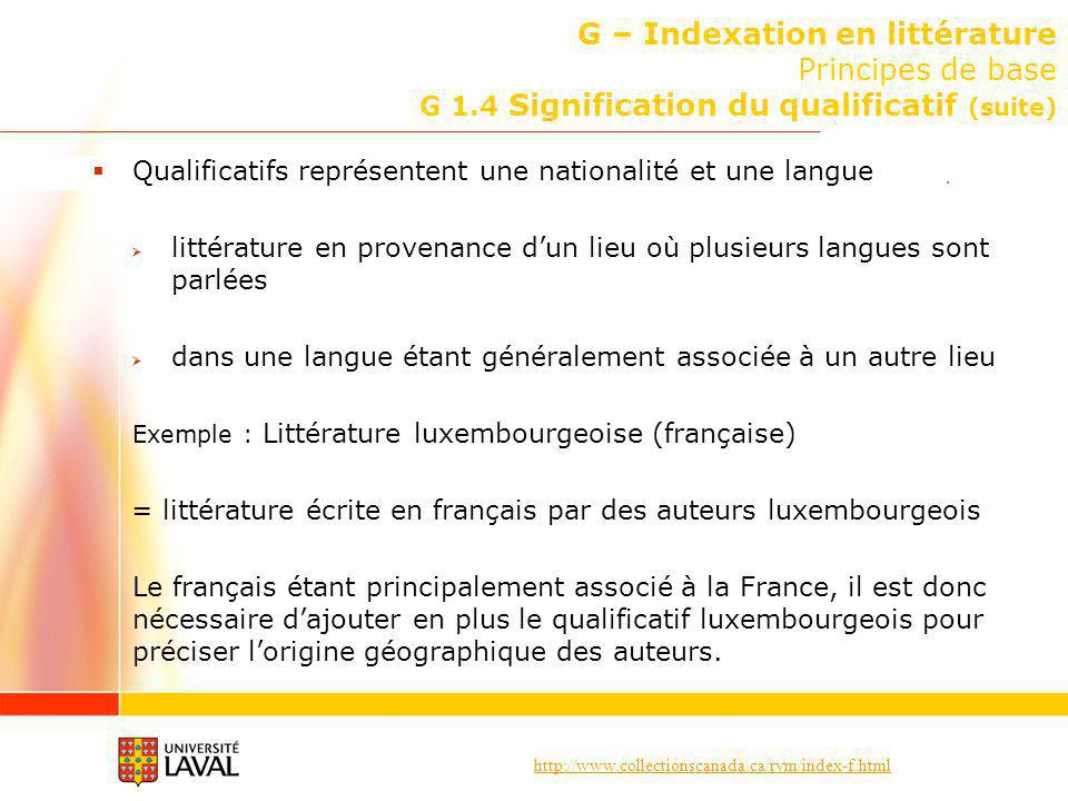 G – Indexation en littérature Principes de base G 1