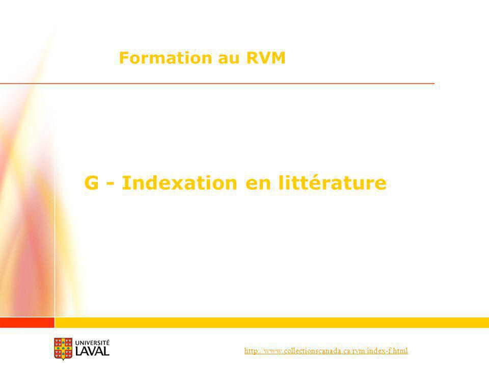 G - Indexation en littérature