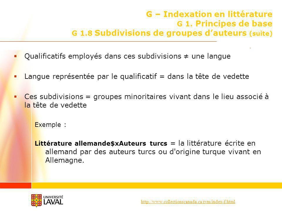 G – Indexation en littérature G 1. Principes de base G 1