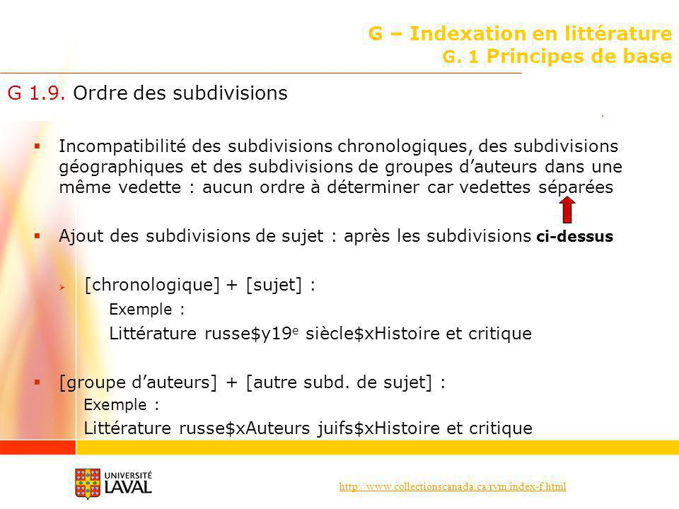G – Indexation en littérature G. 1 Principes de base