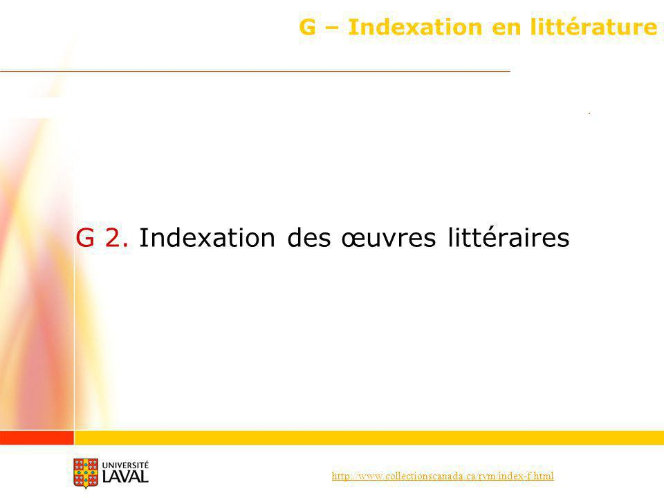 G – Indexation en littérature