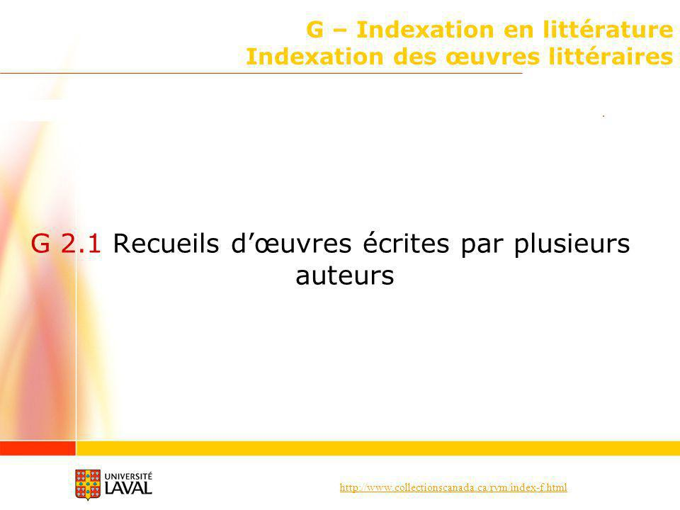 G – Indexation en littérature Indexation des œuvres littéraires