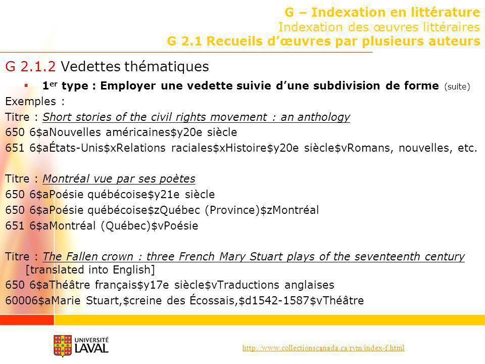 G 2.1.2 Vedettes thématiques