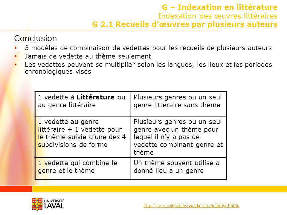 G – Indexation en littérature Indexation des œuvres littéraires G 2
