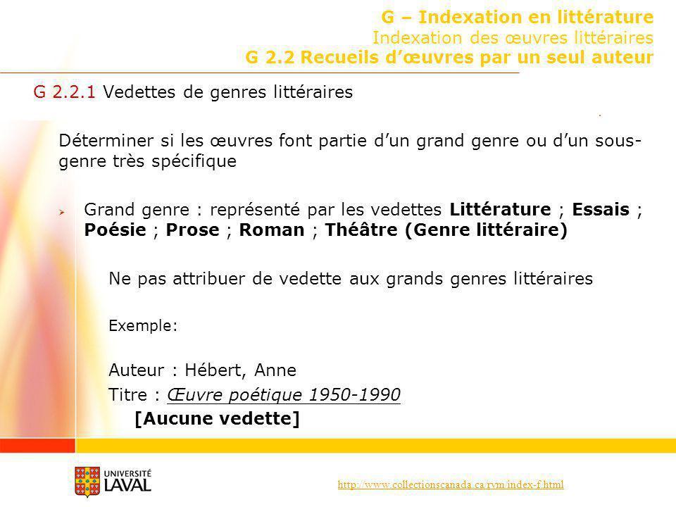 G 2.2.1 Vedettes de genres littéraires