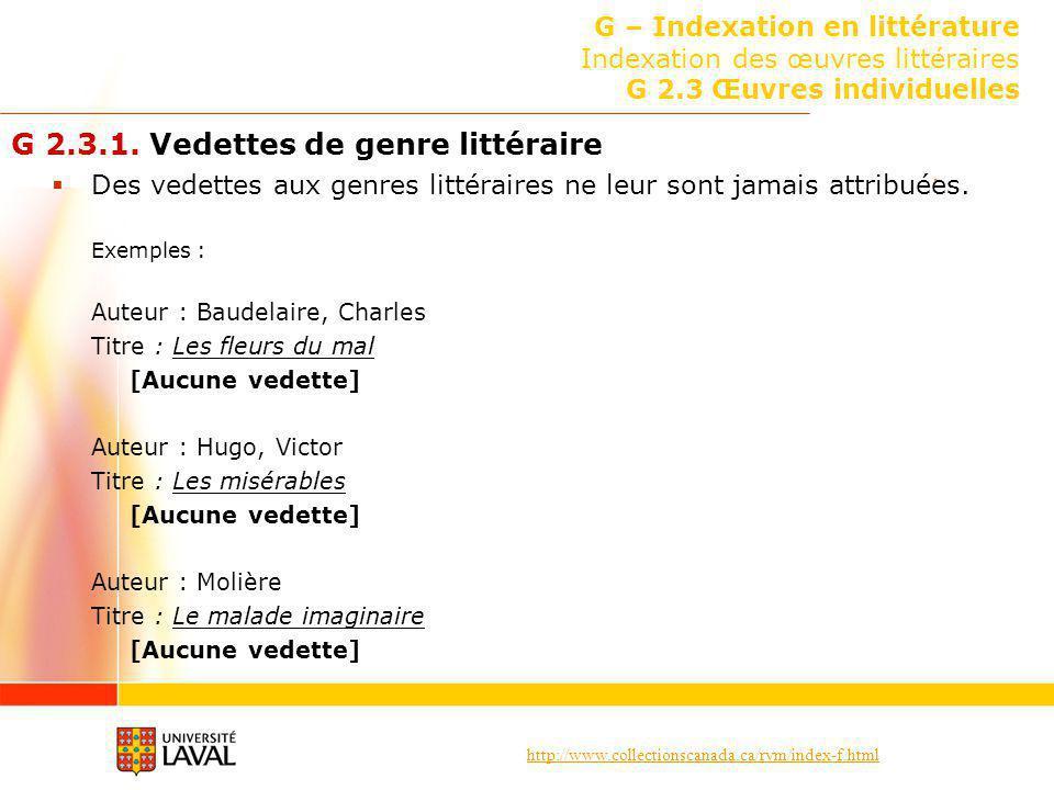 G 2.3.1. Vedettes de genre littéraire