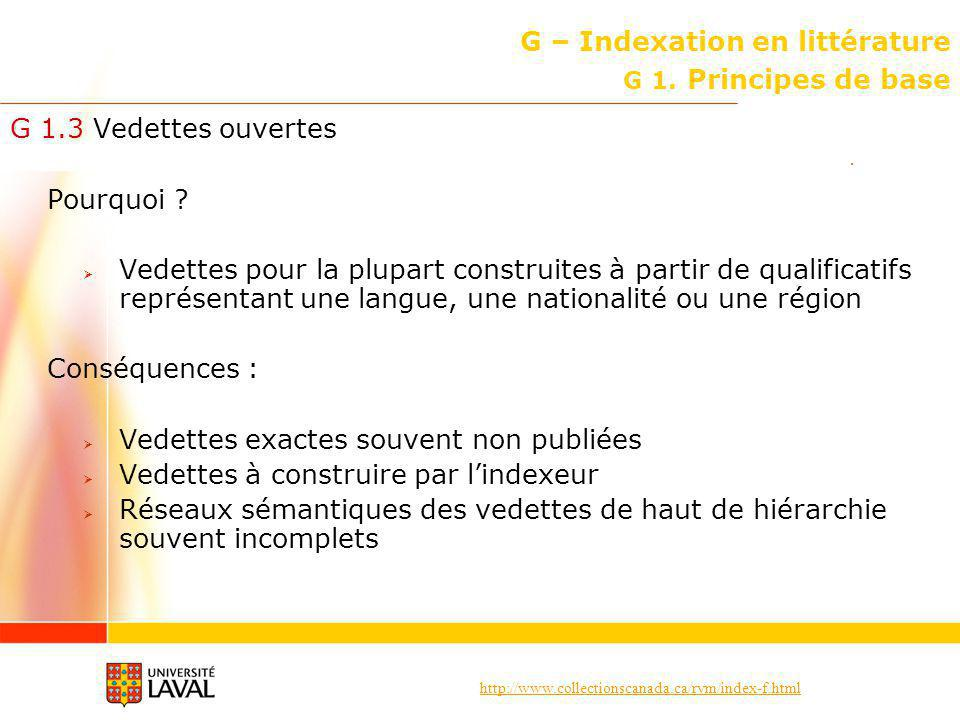 G – Indexation en littérature G 1. Principes de base