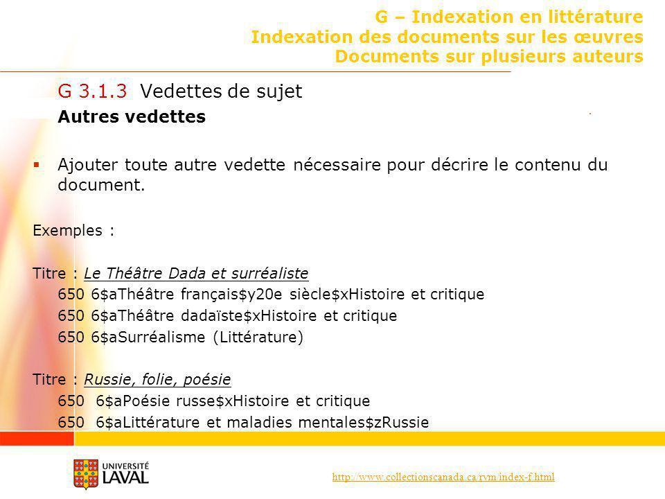 G – Indexation en littérature Indexation des documents sur les œuvres Documents sur plusieurs auteurs