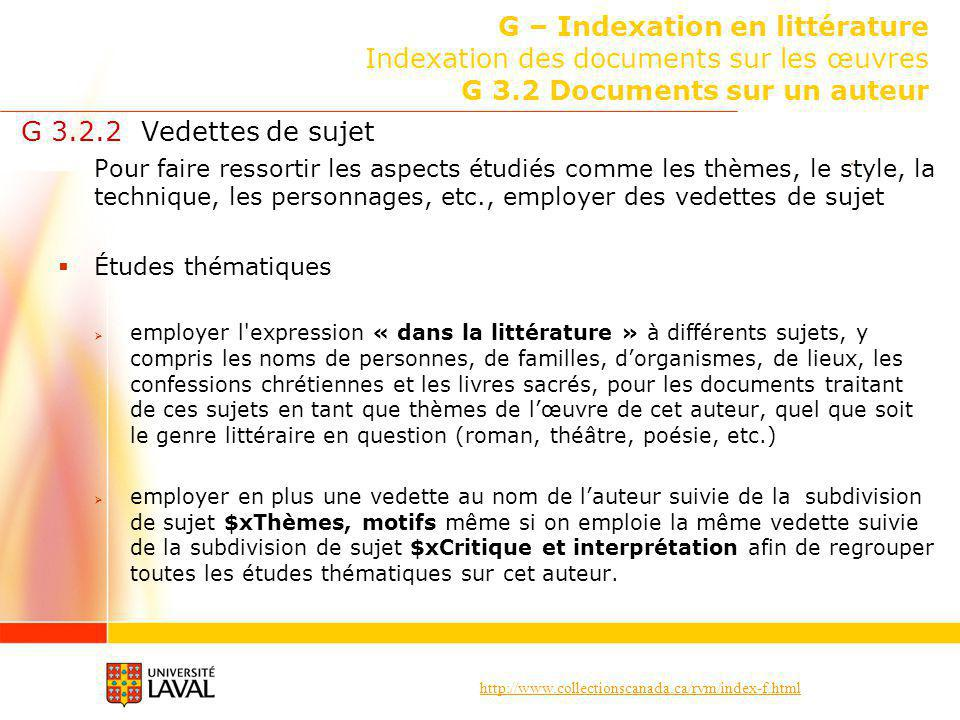 G – Indexation en littérature Indexation des documents sur les œuvres G 3.2 Documents sur un auteur