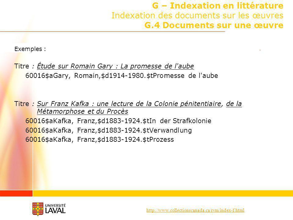 G – Indexation en littérature Indexation des documents sur les œuvres G.4 Documents sur une œuvre