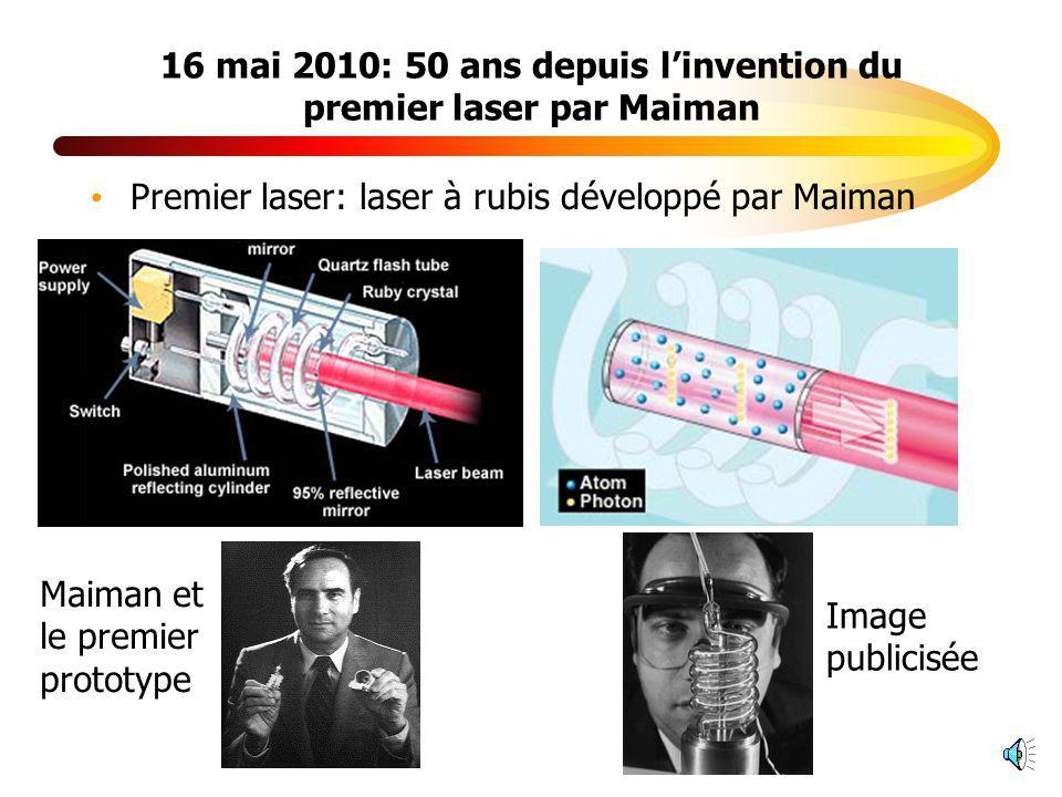 16 mai 2010: 50 ans depuis l'invention du premier laser par Maiman