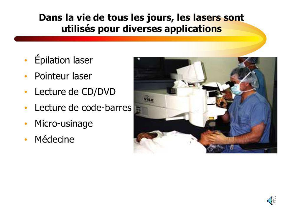 Dans la vie de tous les jours, les lasers sont utilisés pour diverses applications