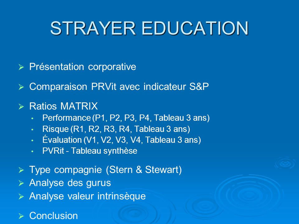 STRAYER EDUCATION Présentation corporative